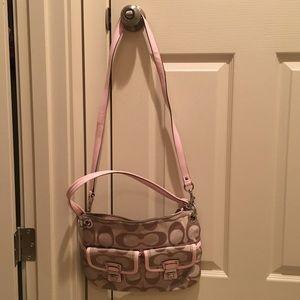 Light Pink and Tan Coach Crossbody Bag